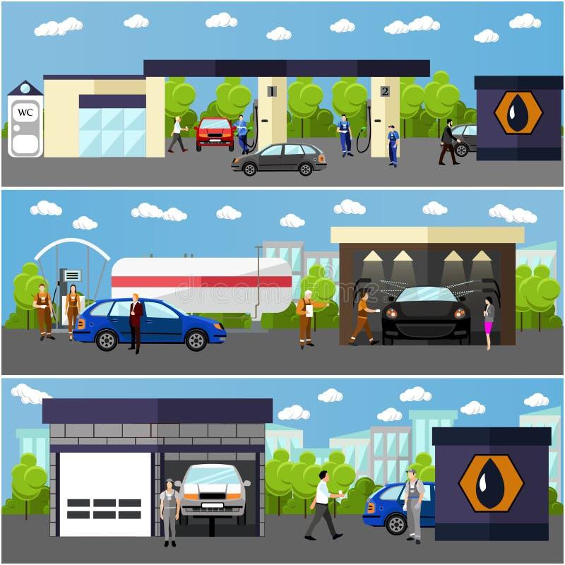 Benzinestation, autowasserette en reparatiewerkplaatsconcepten vectorbanners De mensen voorzien hun auto's van brandstof royalty-vrije illustratie