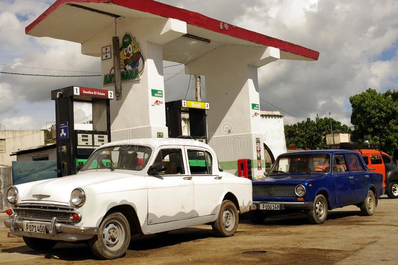 Benzinestation in Cuba stock foto's