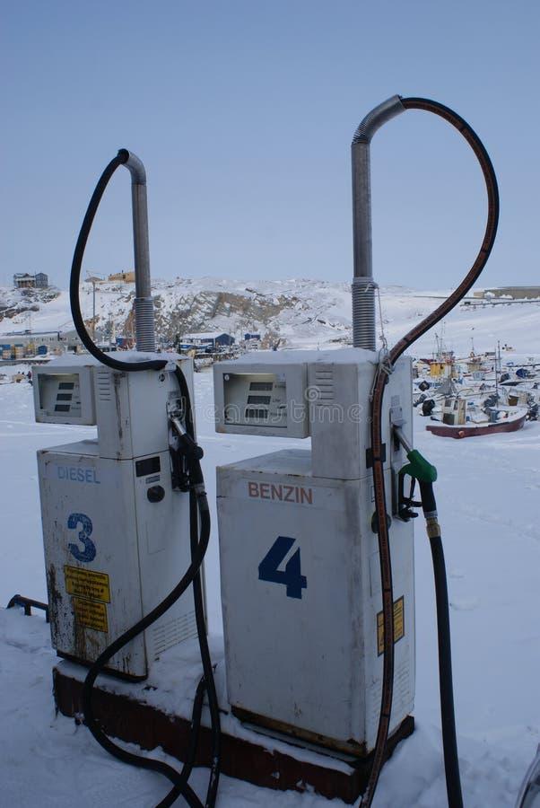 Benzinestation in Ilulissat, Groenland royalty-vrije stock foto's