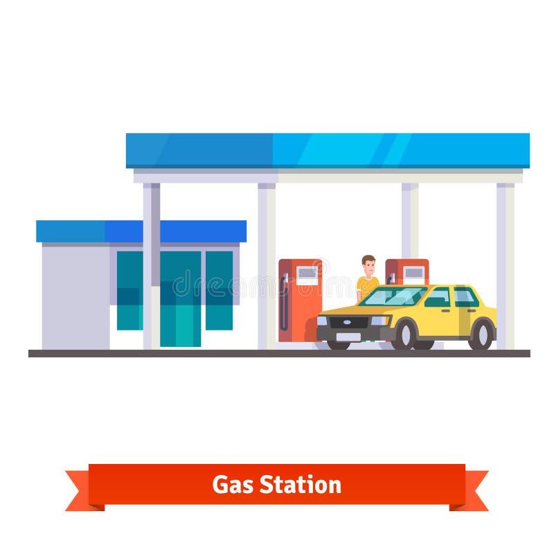 Benzinestation met de mens die auto van brandstof voorzien royalty-vrije illustratie