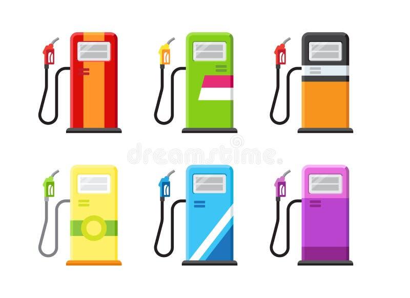 Benzinestation met verschillende merken wordt geplaatst dat royalty-vrije illustratie