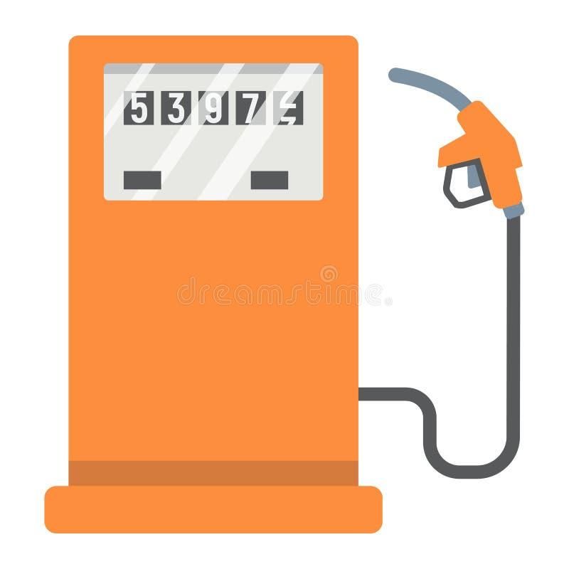 Benzinestation vlakke pictogram, benzine en brandstof, pompteken royalty-vrije illustratie