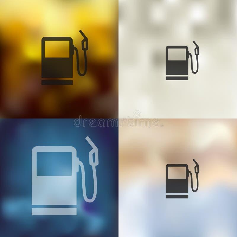 Benzinestationpictogram op vage achtergrond vector illustratie