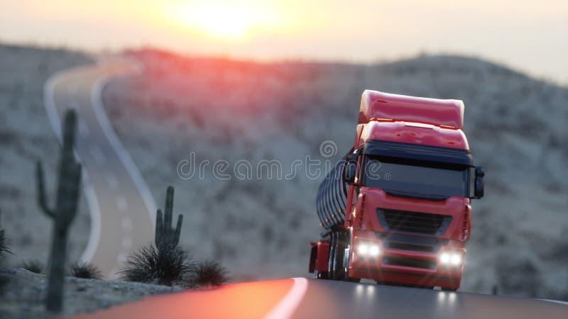 Benzinetanker, Olieaanhangwagen, vrachtwagen op weg Zeer snel drijvend het 3d teruggeven vector illustratie