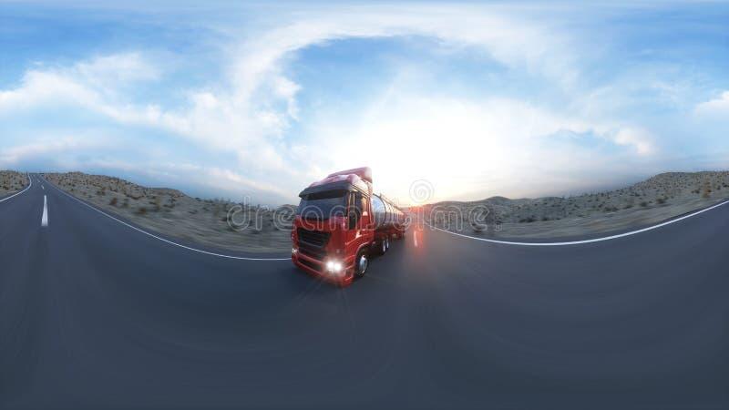 Benzinetanker, Olieaanhangwagen, vrachtwagen op weg Zeer snel drijvend het 3d teruggeven 360 sferische panoramisch royalty-vrije illustratie