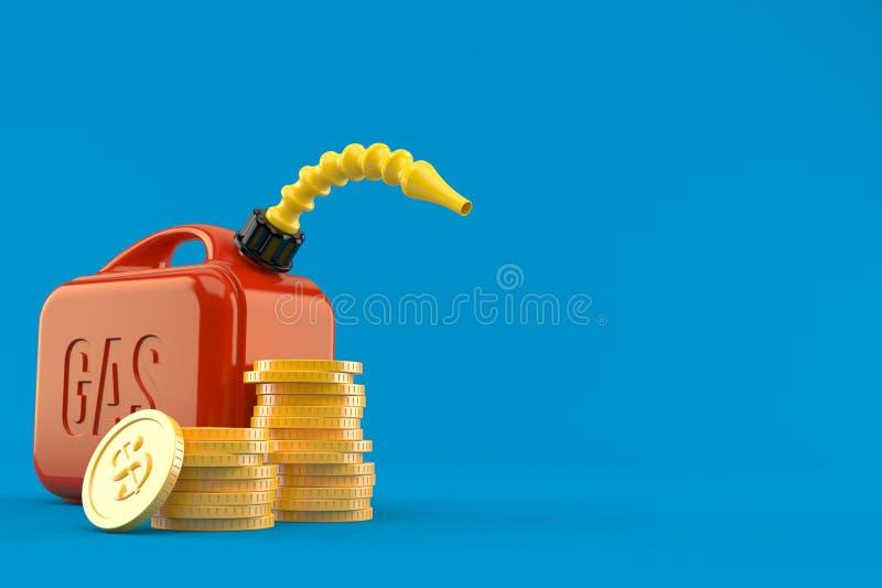 Benzinkanister mit Stapel Münzen vektor abbildung