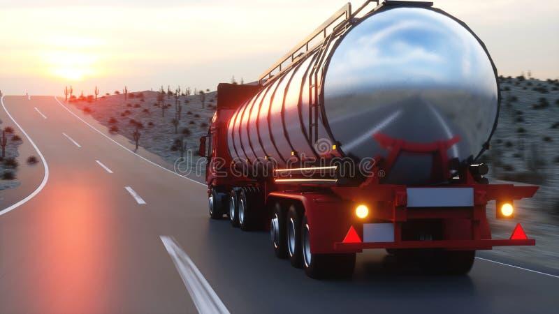 Benzintanker, Ölanhänger, LKW auf Landstraße Sehr schnelles Fahren Wiedergabe 3d vektor abbildung