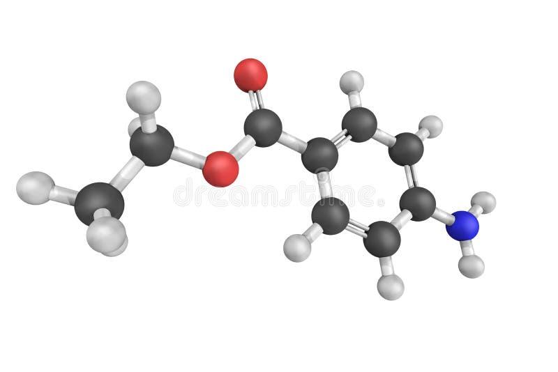 Benzocaine, een lokaal die verdovingsmiddel algemeen als actuele pijn r wordt gebruikt stock fotografie