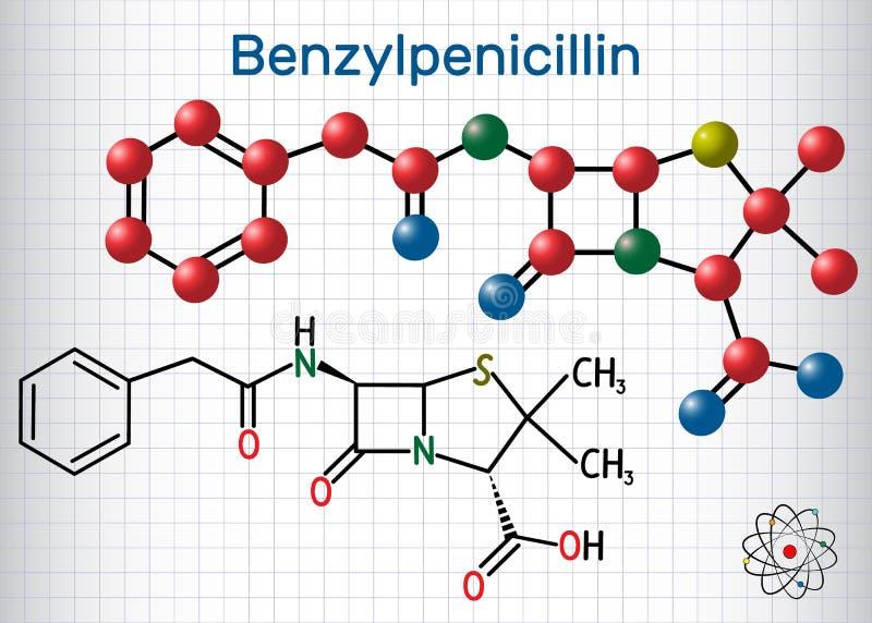 Benzylpenicillin penicyliny G leka molekuła Ja jest laktamu antybiotykiem Formalnie chemicznej formuły i molekuły model sheetrock ilustracji