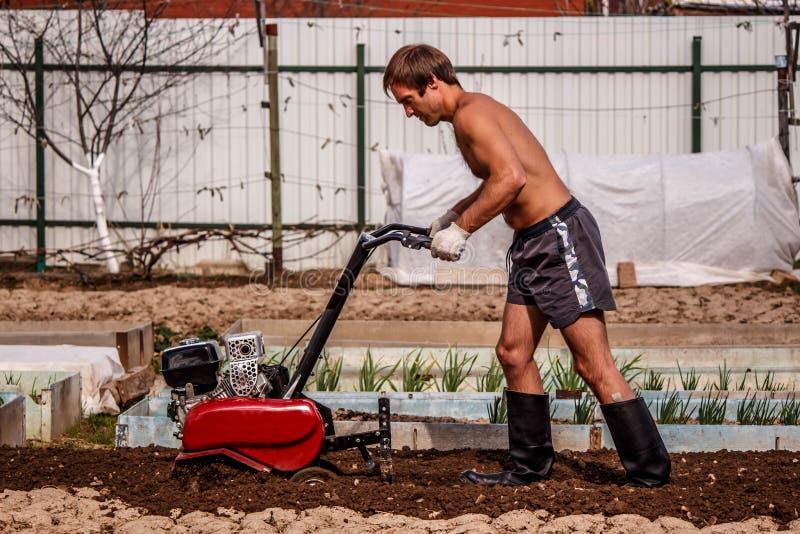 Benzyna kultywator w akci na uprawia ziemię fabule fotografia stock