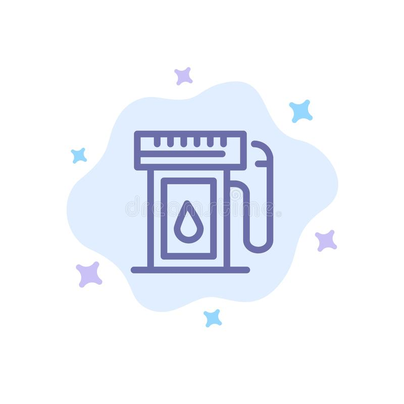 Benzyna, przemysł, olej, Opadowa Błękitna ikona na abstrakt chmury tle royalty ilustracja