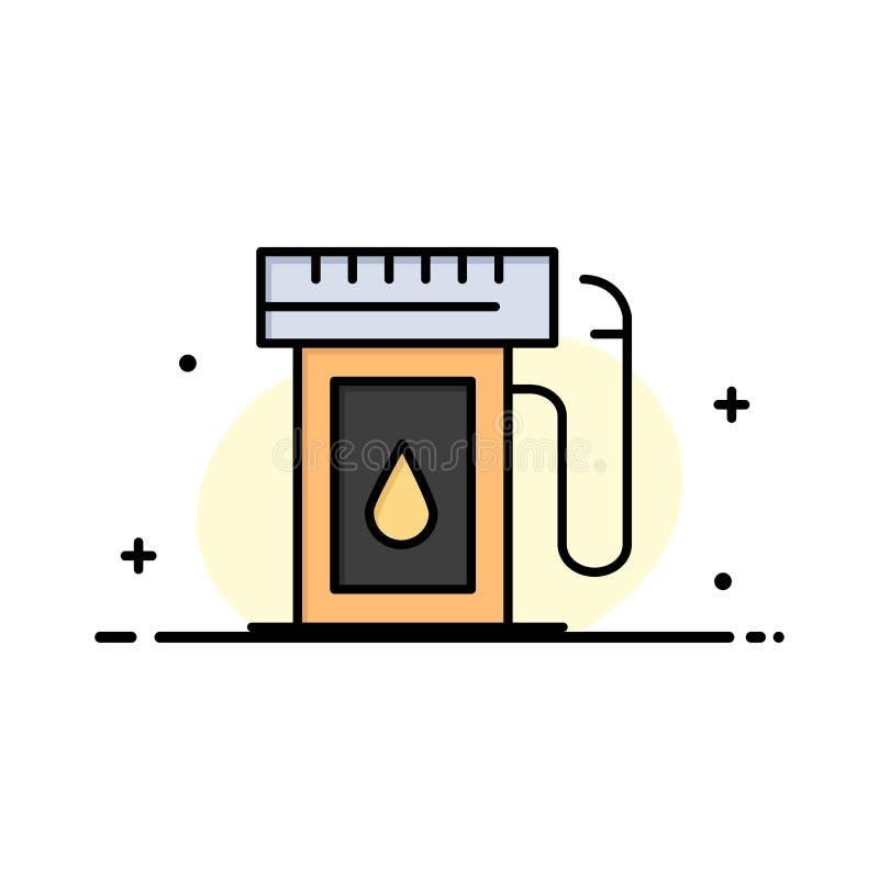 Benzyna, przemysł, olej, Opadowa Biznesowa linia Wypełniający mieszkanie ikony sztandaru Wektorowy szablon ilustracja wektor