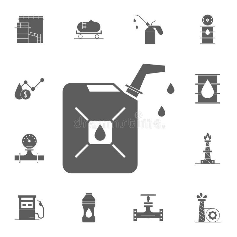 Benzynowa kanister ikona Szczegółowy set Nafciane ikony Premii ilości graficznego projekta znak Jeden inkasowe ikony dla stron in ilustracji