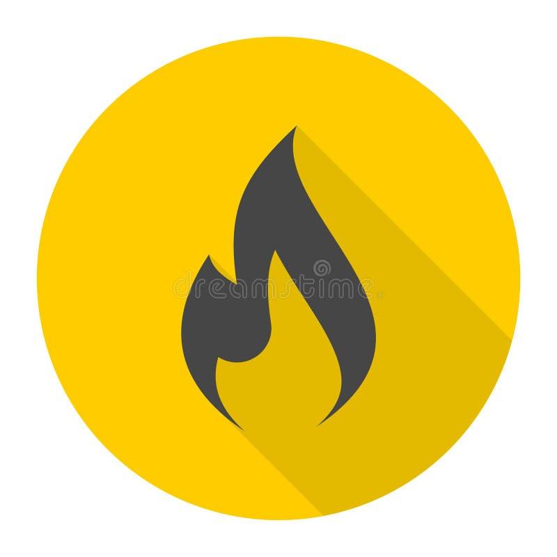 Benzynowa płomień ikona z długim cieniem ilustracji