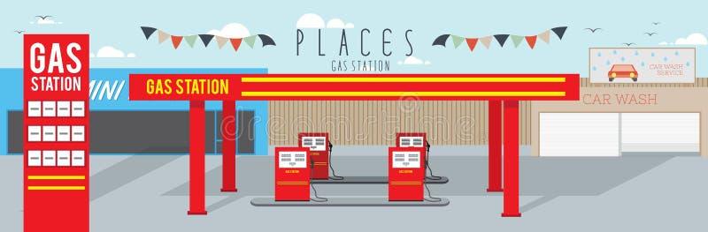 Benzynowa stacja (miejsca) ilustracja wektor