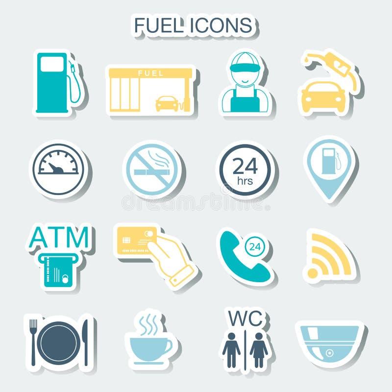 16 benzynowej staci ikon Paliwowe ikony majchery wektor ilustracji