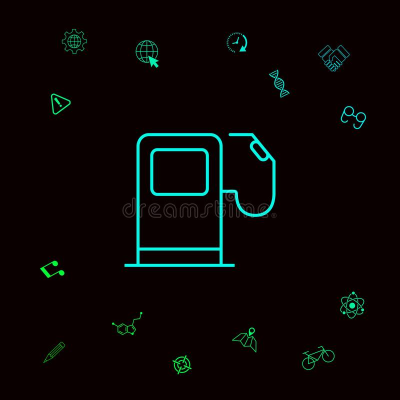 Benzynowej staci ikona Graficzni elementy dla twój designt ilustracja wektor