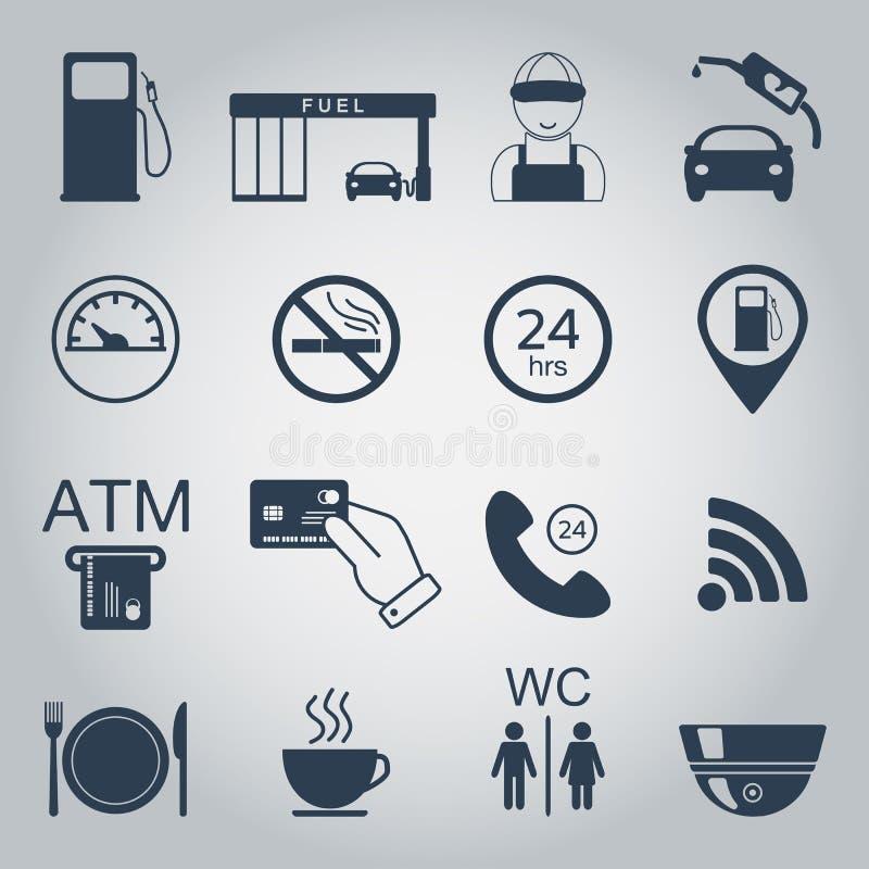 Benzynowej staci ikony Paliwowe sylwetek ikony monochrom wektor ilustracji