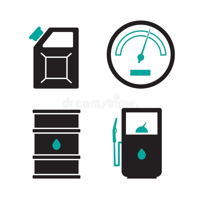 Benzynowej staci ikony ustawiać Benzynowa ikony, samochodu i oleju ikona, paliwowa benzyna royalty ilustracja