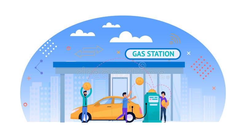 Benzynowej staci mieszkania ilustracja Pieniądze dla paliwa ilustracji