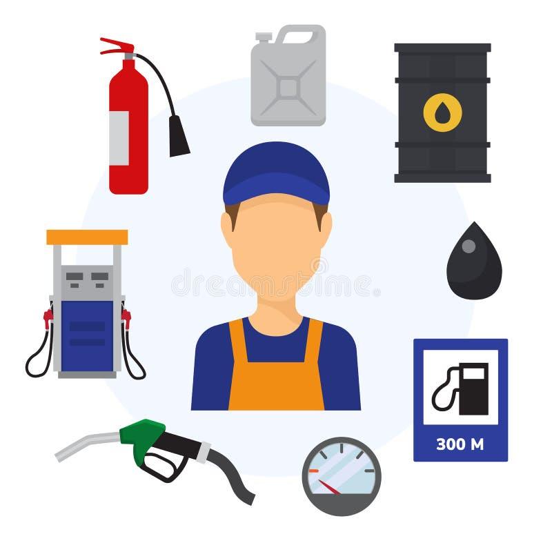 Benzynowej stacji koloru płaskie ikony ustawiać kanister z benzyną, tankowa pistoletem, kolumną z pompą i pracownika mężczyzną, o royalty ilustracja