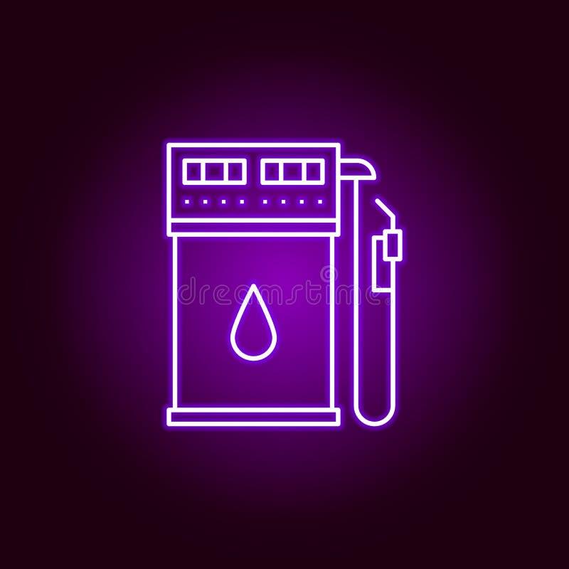 benzynowej stacji konturu ikona w neonowym stylu Elementy samochód naprawy ilustracja w neonowej stylowej ikonie Znaki i symbole  royalty ilustracja