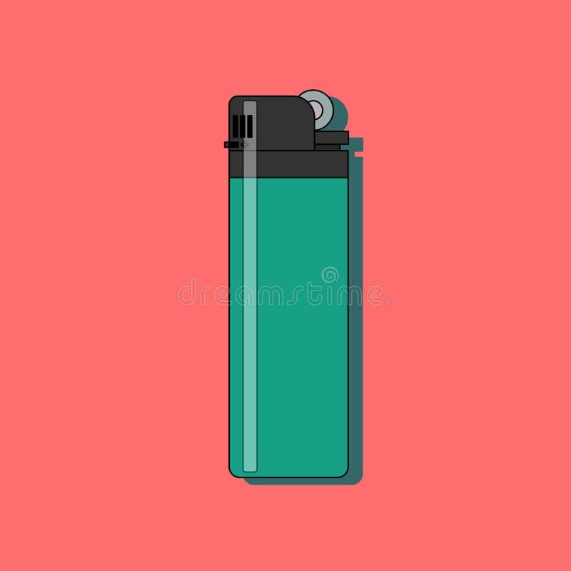 Benzynowej zapalniczki płaska ikona z długim cieniem odizolowywającym na czerwonym tle ilustracja wektor
