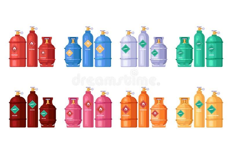 Benzynowy magazyn, butla zbiorniki ustawiający Wektorowa płaska ilustracja Metali ballons propan, tlen, butan, acetylen royalty ilustracja