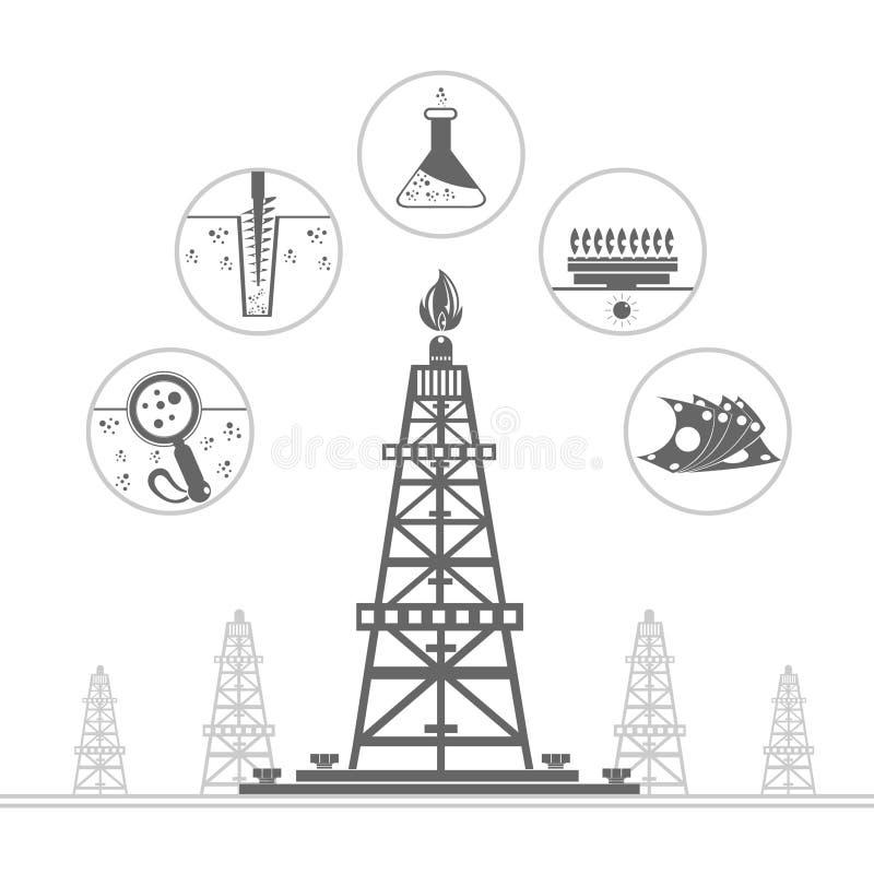 benzynowy takielunek lub nafciana wiertnica z ikonami proces produkcja ilustracji