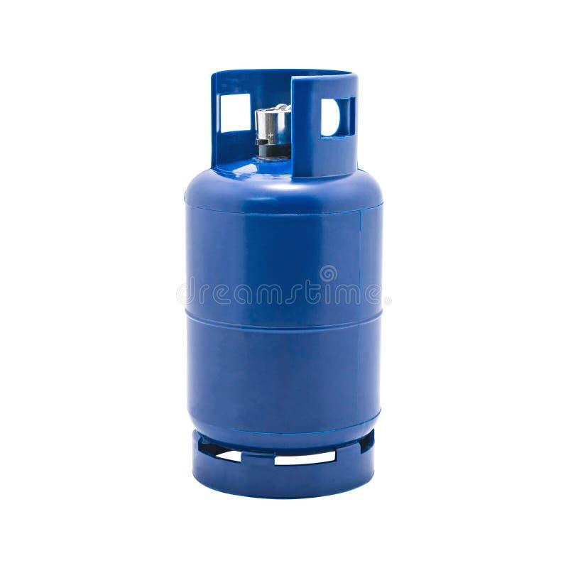 Benzynowy zbiornik z zapalniczka właścicielem odizolowywającym na białym tle LPG Benzynowa butelka zdjęcia stock