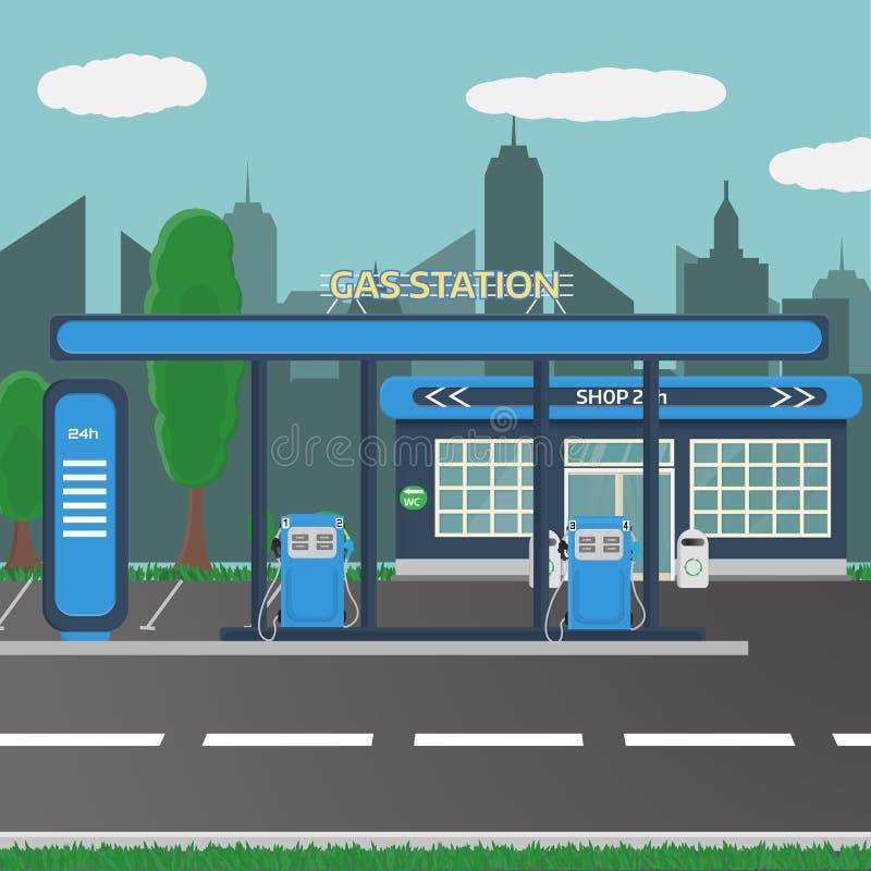 Benzyny benzynowej staci pojęcie w płaskim projekta stylu royalty ilustracja