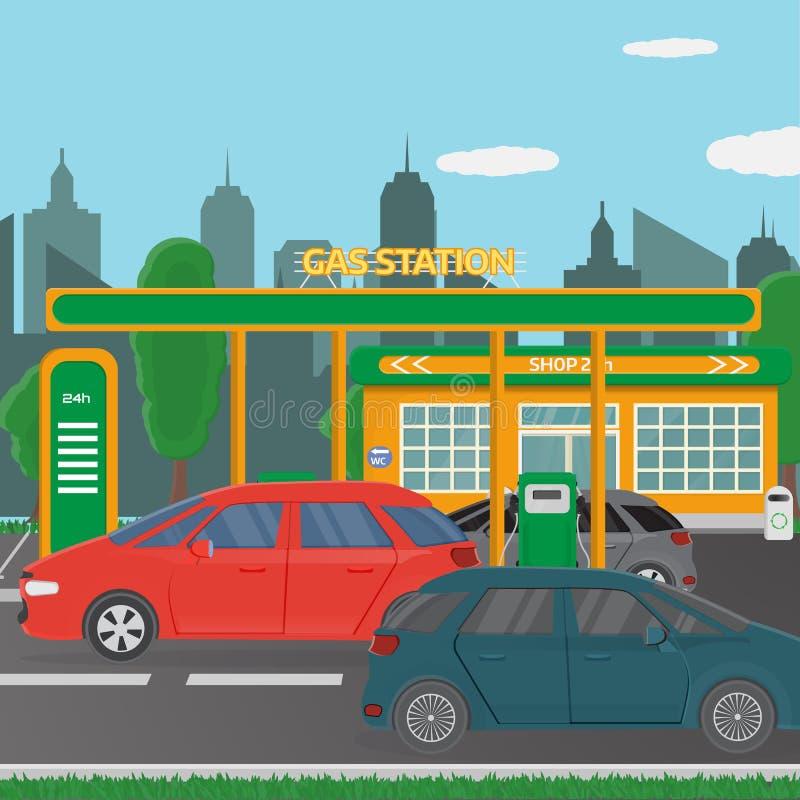 Benzyny benzynowej staci pojęcie w płaskim projekta stylu ilustracja wektor