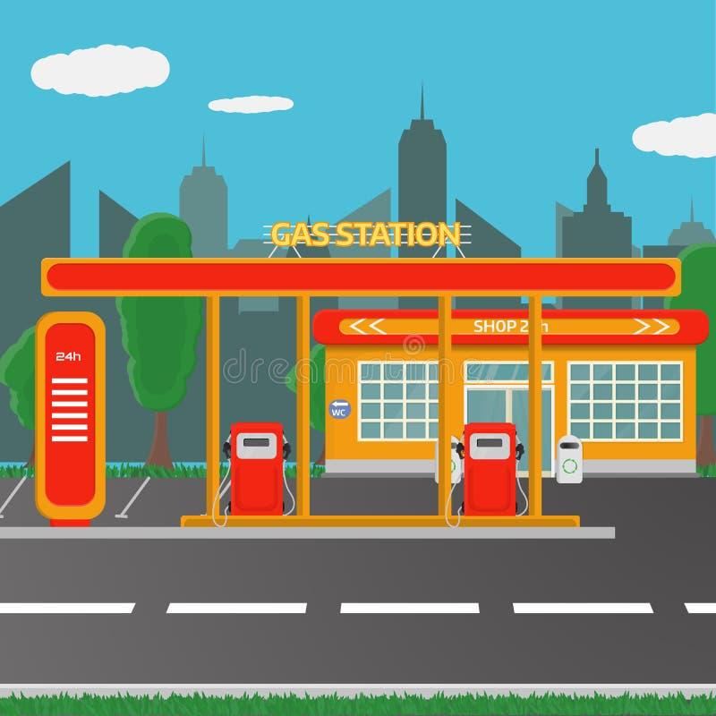 Benzyny benzynowej staci pojęcie w płaskim projekta stylu ilustracji