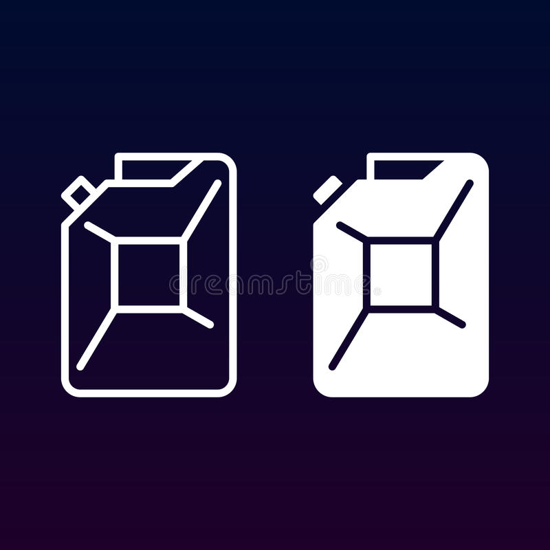 Benzyny jerrycan kreskowy, stała ikona, kontur i piktogram odizolowywający na bielu, wypełniający wektoru znaka, liniowego i pełn ilustracja wektor