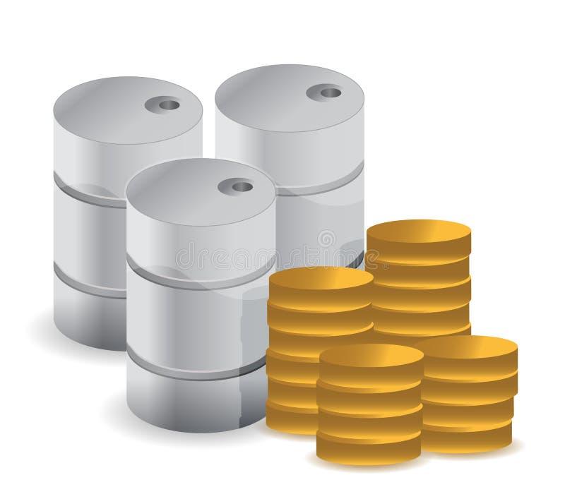 Benzyny Paliwo Z Monetami Nad Białym Tłem Obraz Royalty Free