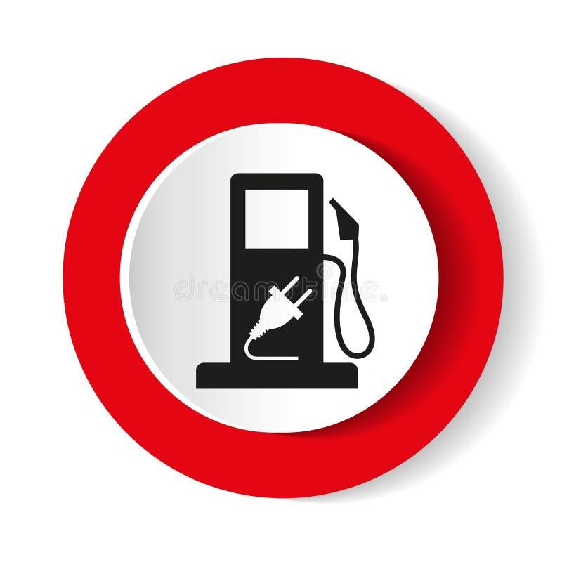 Benzyny pompy nozzle znak Benzynowej staci ikona Płaski projekta styl ilustracji