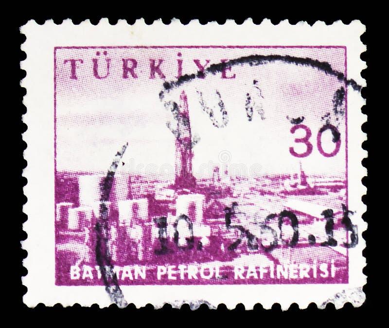 Benzyny rafinerii Batman, przemysłu i technologii seria około 1959, obrazy stock