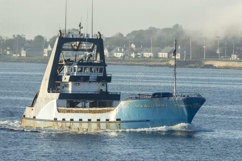 Beobachter Schiff der kommerziellen Fischerei Seei stockbild