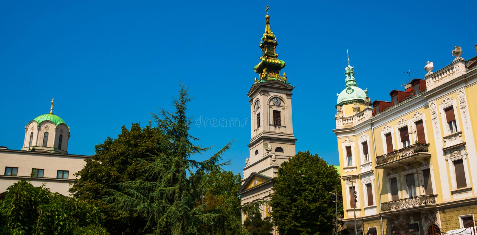BEOGRAD, SERBIA: Beautiful street with the Church of the old town. Belgrade. Serbia stock photography