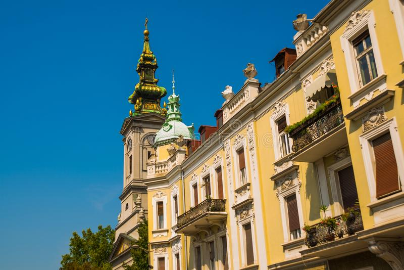 BEOGRAD, SERBIA: Beautiful street with houses in the old town. Belgrade. Serbia royalty free stock photo