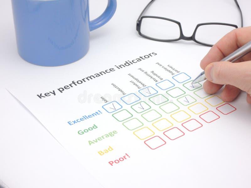 Beoordeling van zeer belangrijke prestatie-indicators royalty-vrije stock fotografie
