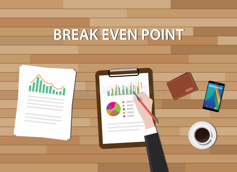 Bep break even point illustration graph chart and work table vector illustration