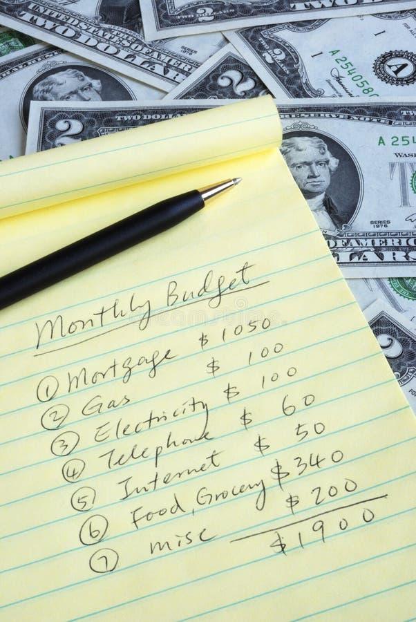 Bepaal de maandelijkse begroting royalty-vrije stock afbeelding