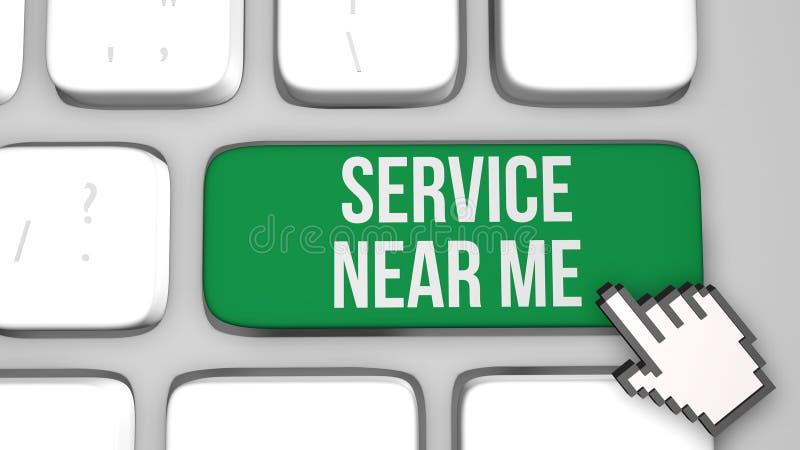 Bepaal de plaats van de dienst dichtbij me concept 3d geef illustratie terug vector illustratie