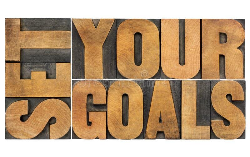 Bepaal uw doelstellingen in houten type royalty-vrije stock fotografie