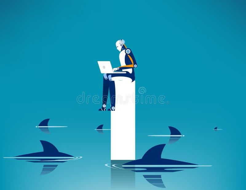 Beperkingen en risico's van werkzaamheden Het concept bedrijfsvectorillustratie, Uitdaging, Omringde haai, Gevaar royalty-vrije illustratie