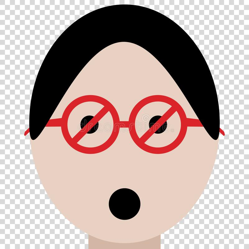 beperkingsglazen die op lege achtergrond verbieden te letten stock illustratie