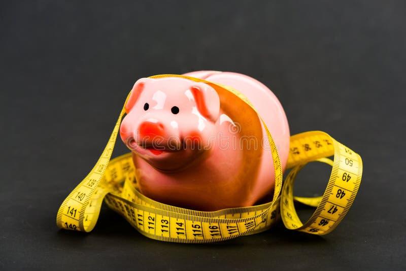 Beperkt of beperkt De schuld van de kredietlening Spaarvarken en het meten van band Het concept van de begrotingsgrens Het financ royalty-vrije stock foto's