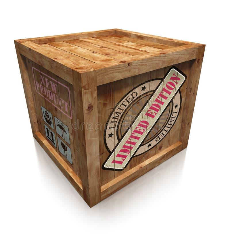 Beperkt uitgaventeken op houten dooskrat stock illustratie