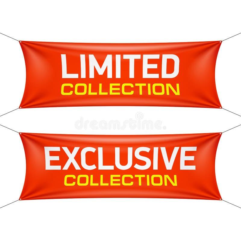 Beperkte en exclusieve inzamelings textielbanners stock illustratie